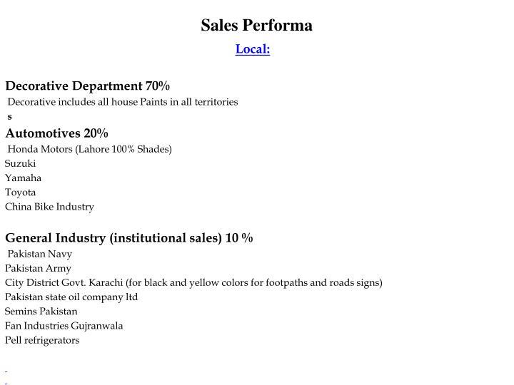 Sales Performa