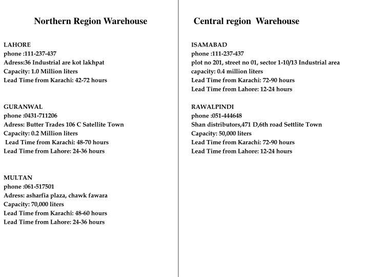 Northern Region Warehouse