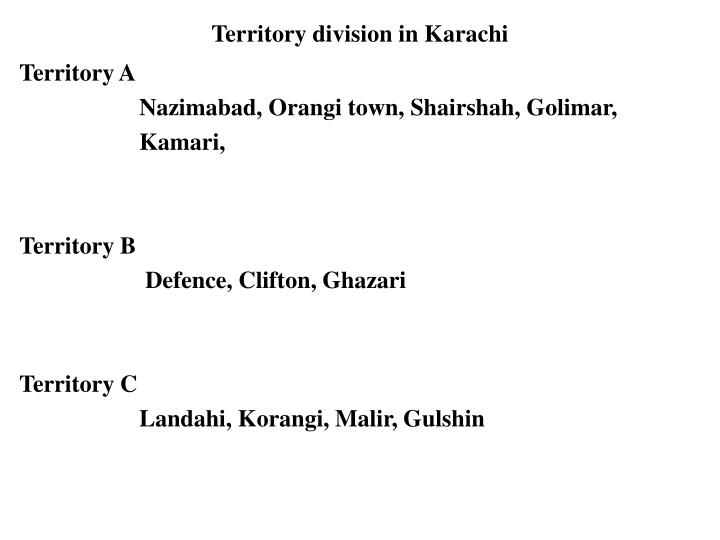 Territory division in Karachi