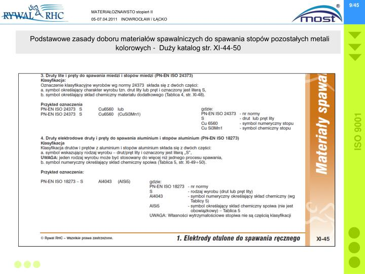Podstawowe zasady doboru materiałów spawalniczych do spawania stopów pozostałych metali kolorowych -  Duży katalog str. XI-44-50