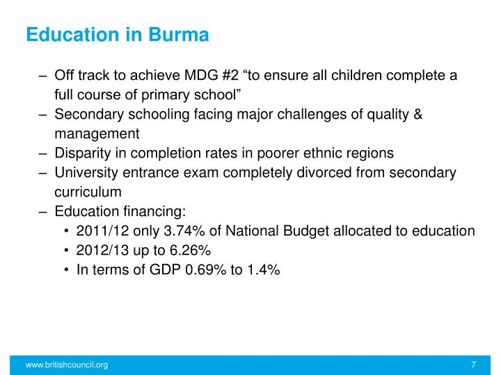 Education in Burma