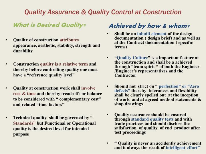 Quality Assurance & Quality Control at Construction