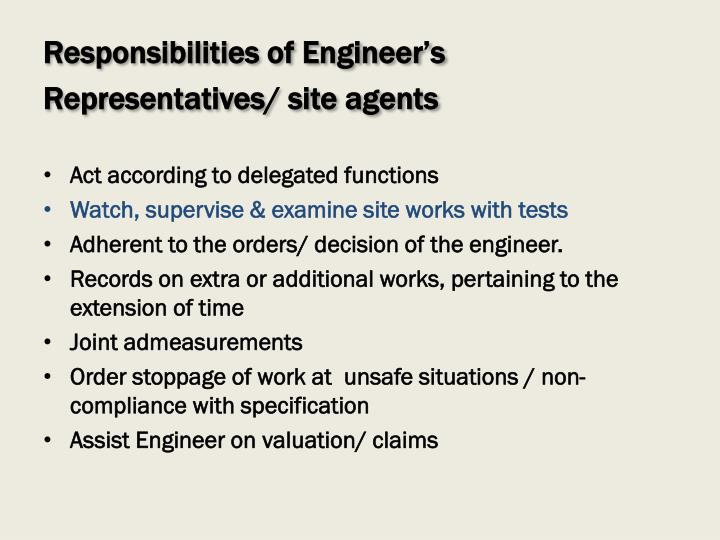 Responsibilities of Engineer's
