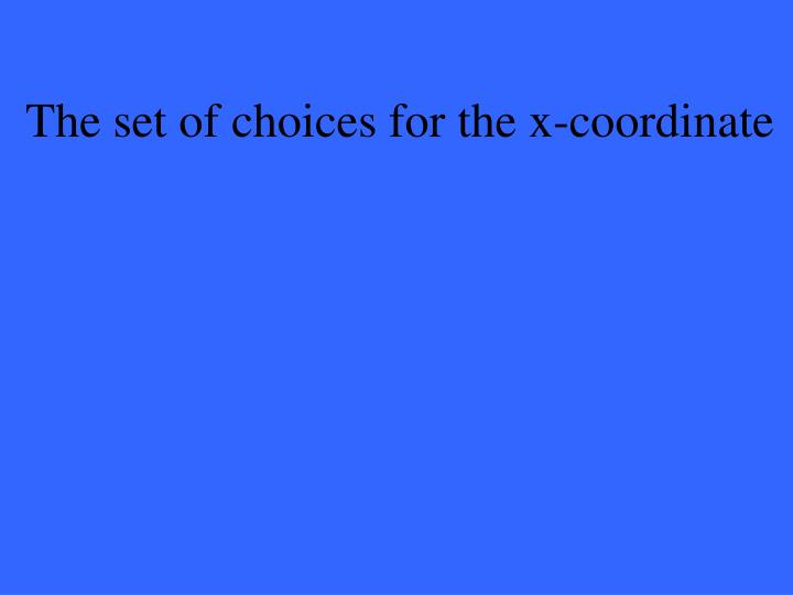 The set of choices for the x-coordinate