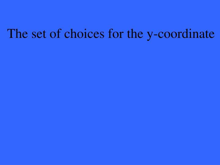 The set of choices for the y-coordinate