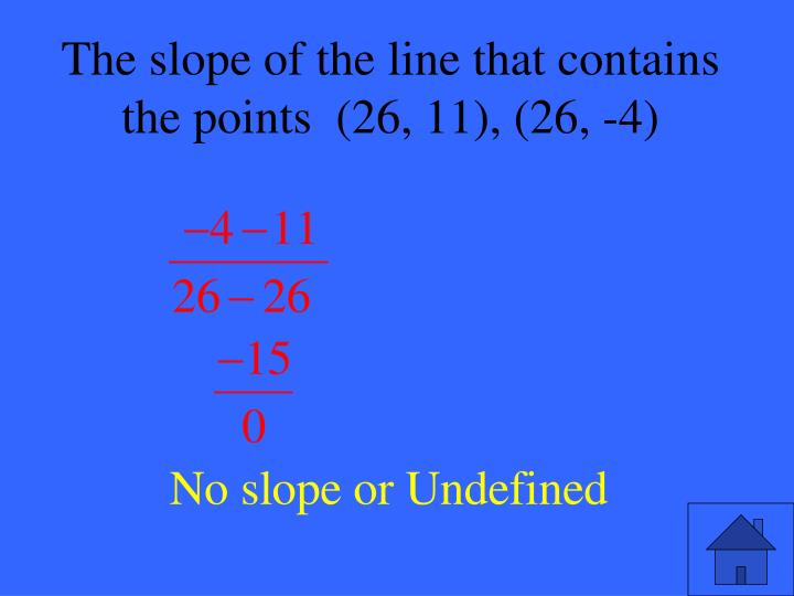 The slope of the line that contains the points  (26, 11), (26, -4)
