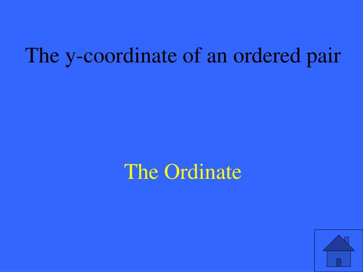 The y-coordinate of an ordered pair