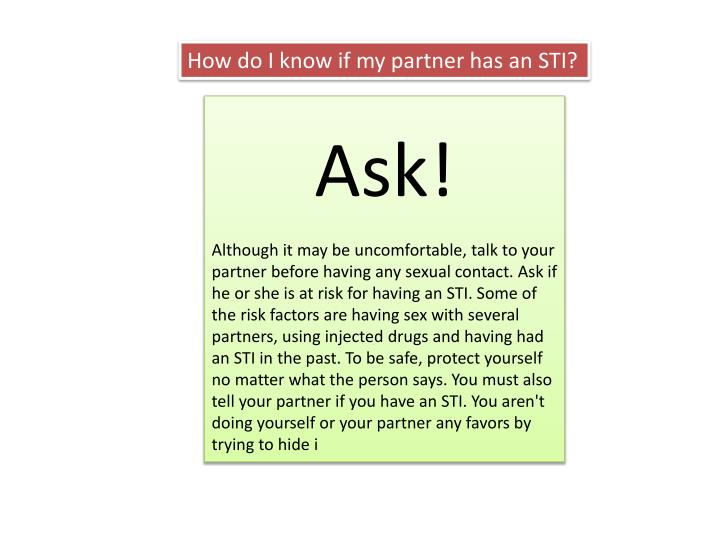 How do I know if my partner has an STI?