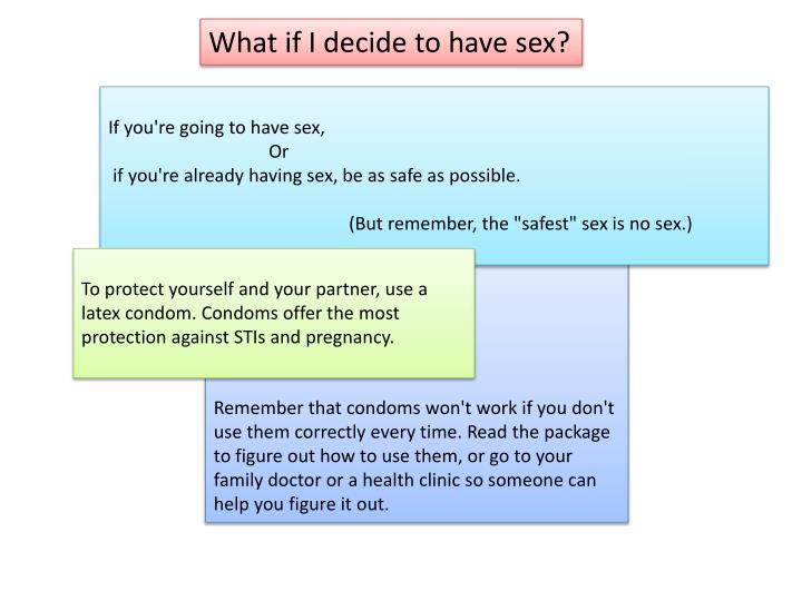 What if I decide to have sex?