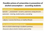 possible actions of universities in prevention of alcohol consumption according students