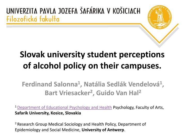 slovak university student perception s of alcohol policy on their campuses