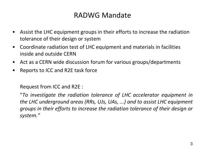 RADWG Mandate