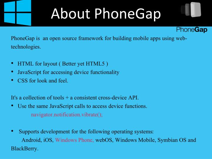 About PhoneGap