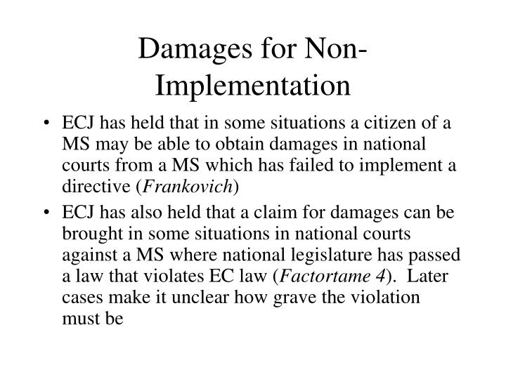 Damages for Non-Implementation