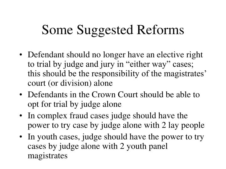 Some Suggested Reforms