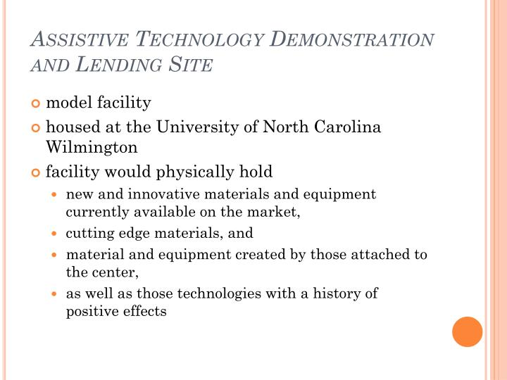 Assistive Technology Demonstration and Lending Site