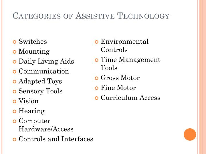 Categories of Assistive Technology