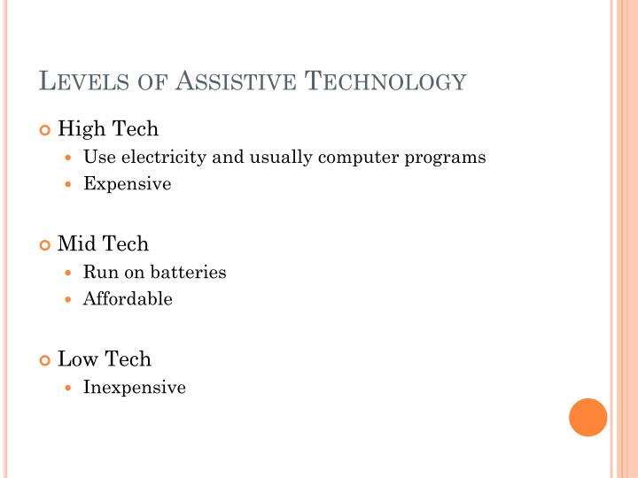 Levels of Assistive Technology