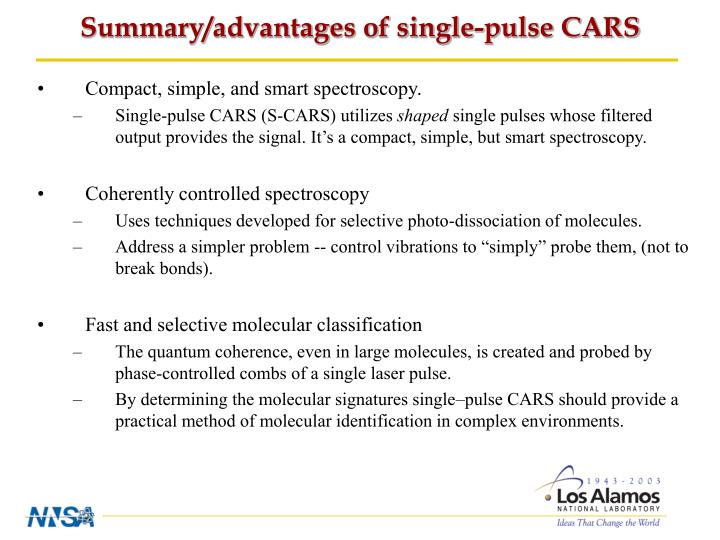 Summary/advantages of single-pulse CARS