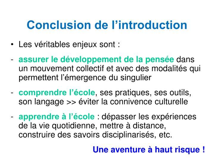 Conclusion de l'introduction