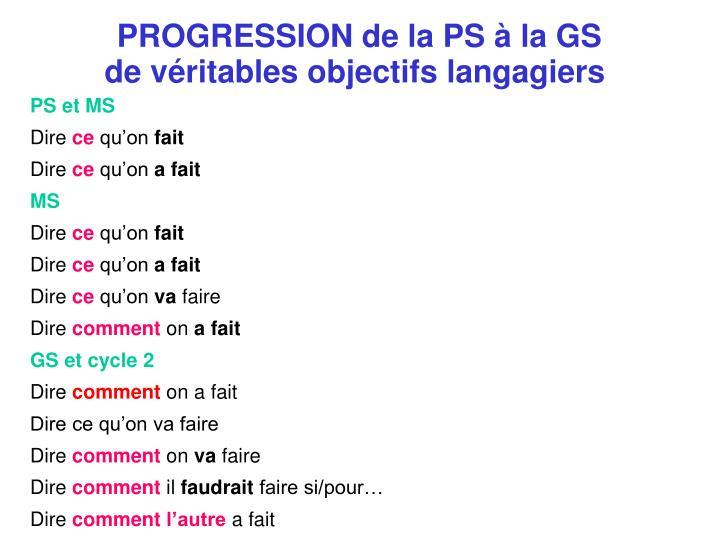 PROGRESSION de la PS à la GS
