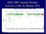 2002 2003 annual seismic activity at mt st helens wa