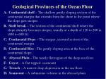 geological provinces of the ocean floor