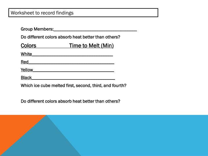 Worksheet to record findings