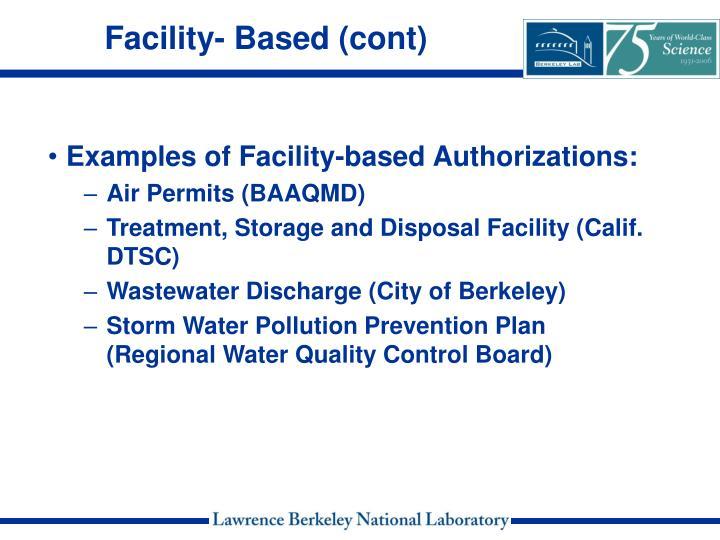 Facility- Based (cont)