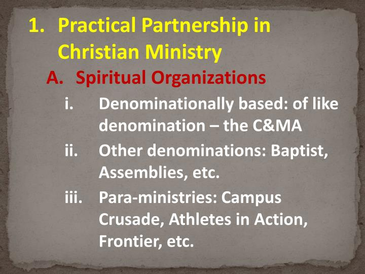 Practical Partnership in Christian Ministry