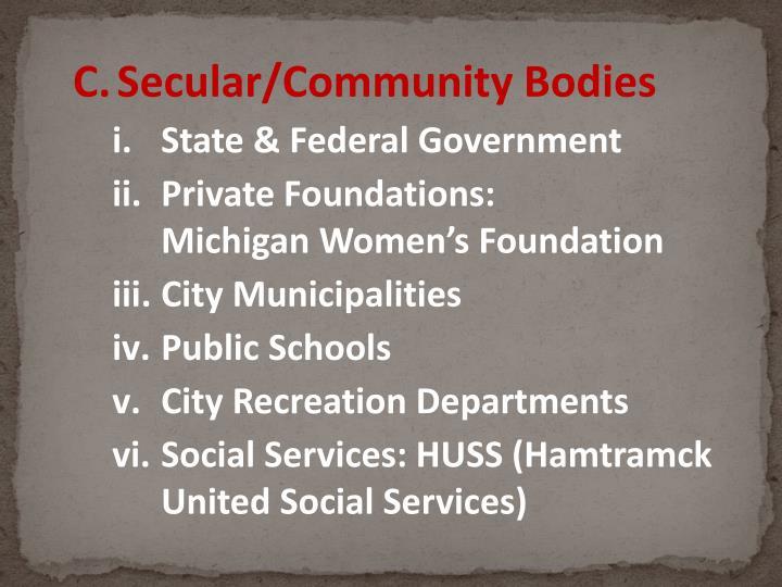 Secular/Community Bodies