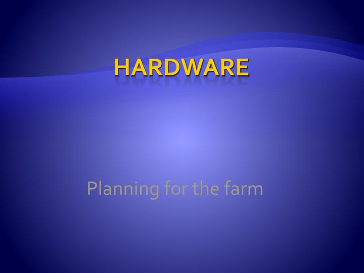 Planning for the farm