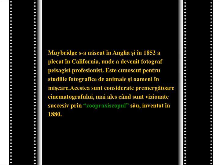 Muybridge s-a născut în Anglia şi în 1852 a