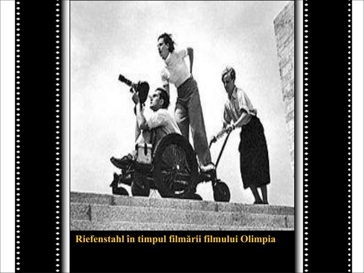 Riefenstahl în timpul filmării filmului Olimpia
