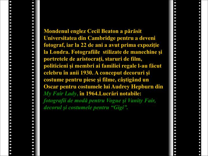Mondenul englez Cecil Beaton a părăsit