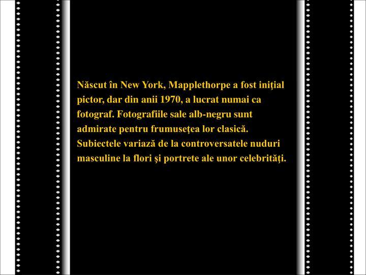 Născut în New York, Mapplethorpe a fost iniţial
