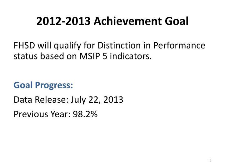 2012-2013 Achievement Goal