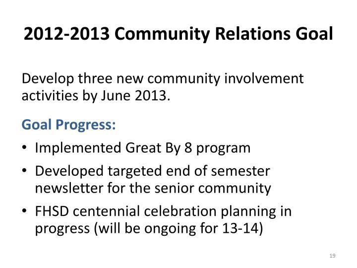 2012-2013 Community Relations Goal