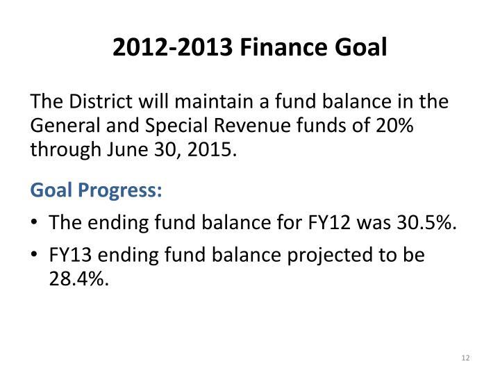 2012-2013 Finance Goal