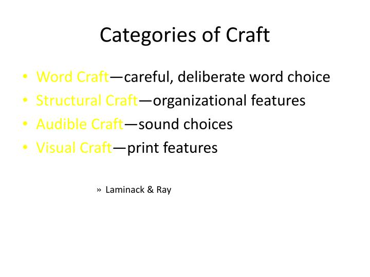 Categories of Craft