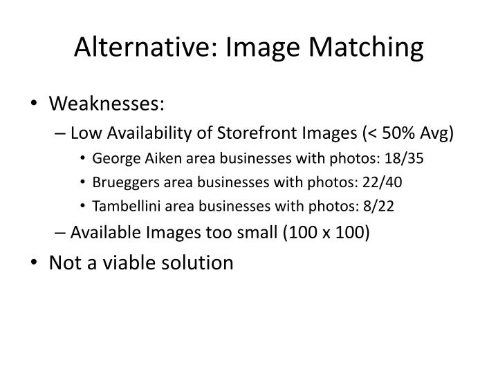 Alternative: Image Matching