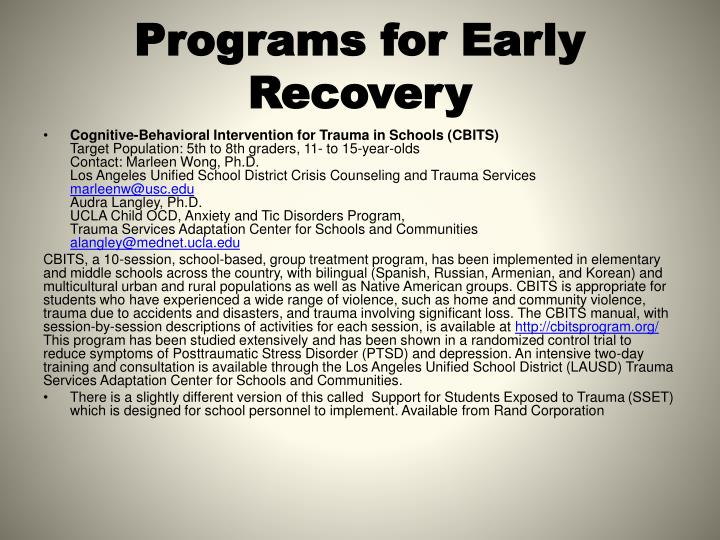 Programs for Early Recovery