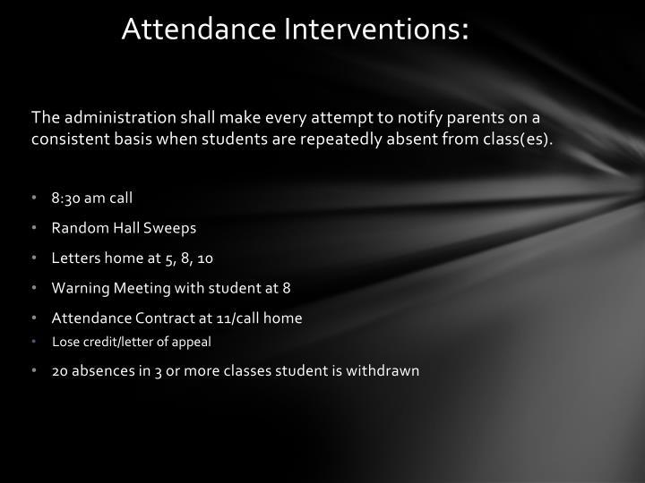 Attendance Interventions
