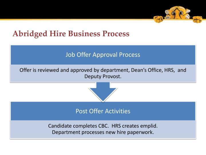 Abridged Hire Business Process