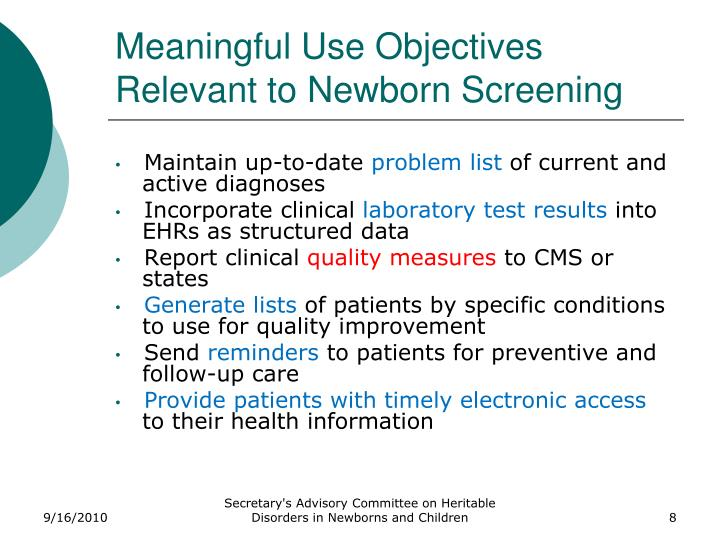 Meaningful Use Objectives Relevant to Newborn Screening
