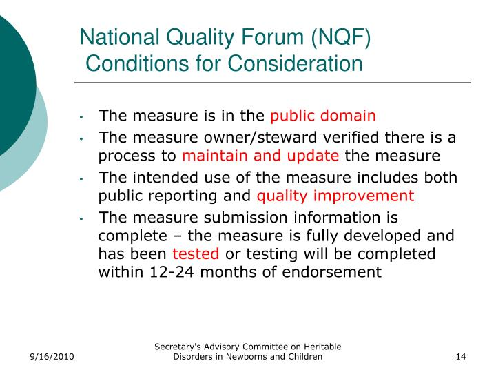 National Quality Forum (NQF)