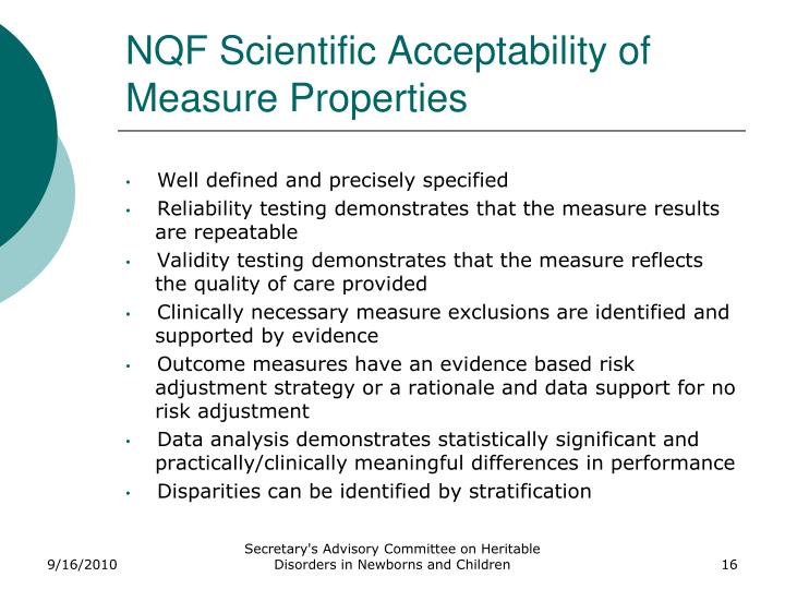 NQF Scientific Acceptability of Measure Properties