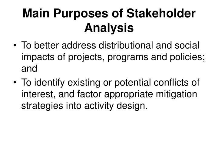 Main Purposes of Stakeholder Analysis