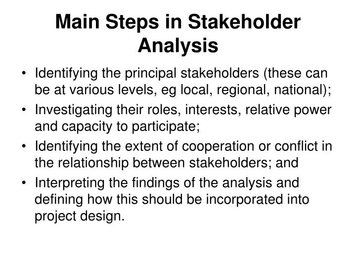 Main Steps in Stakeholder Analysis