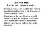 objective tree link to the logframe matrix